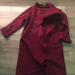 Gorgeous Cherry Red Wool Women's Coat
